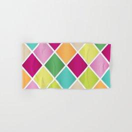 Modern Diamond Geometric Pattern Design // Pink Orange Green Blue Hand & Bath Towel