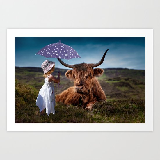 Young Child with Cow Art Print
