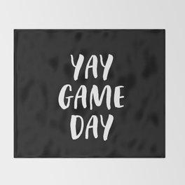 Yay Game Day Football Sports Team White Text Throw Blanket