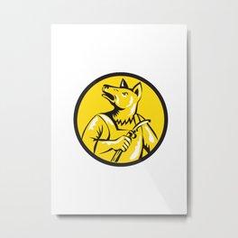 Dingo Dog Welder Circle Retro Metal Print