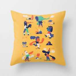 Summer and Skate Throw Pillow