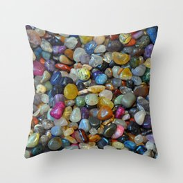 Colorful shiny pebbles Throw Pillow