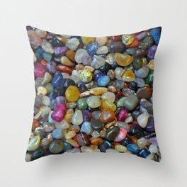 Colorful shiny pebbles Throw Pillow