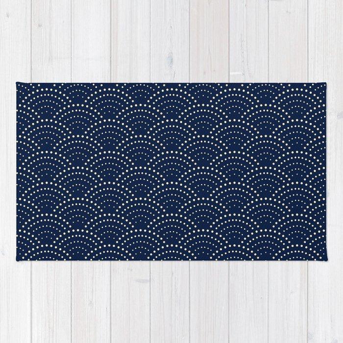 Anese Blue Wave Seigaiha Indigo Super Moon Pattern Rug