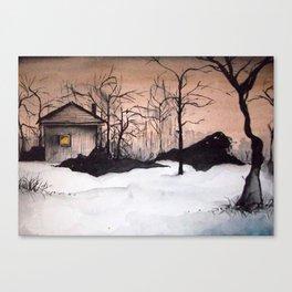 Night Snow Watercolor Canvas Print