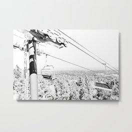 Chairlift // Mountain Ascent Black and White City Photograph Metal Print