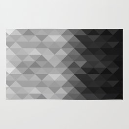 Grayscale triangle geometric squares pattern Rug
