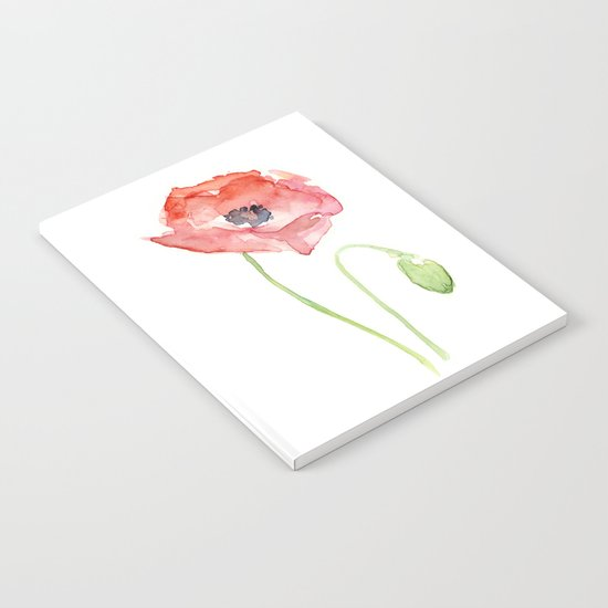Red Poppy Watercolor Flower Floral Abstract Notebook