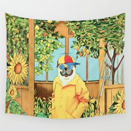 Pug in the garden Wall Tapestry