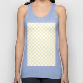 Small Checkered - White and Blond Yellow Unisex Tank Top