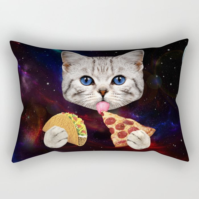 Space Cat with taco and pizza Rectangular Pillow