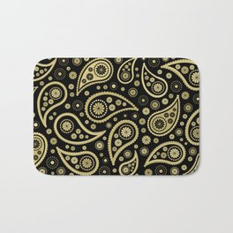 Paisley Funky Design Black and Gold Bath Mat