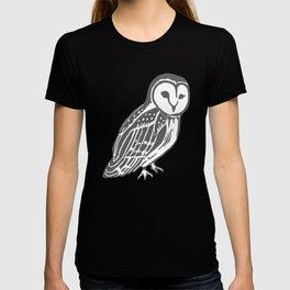 Grey Barn Owl Art T-shirt