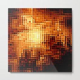 Golden Nebula Pixels Metal Print