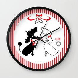 Two Christmas Poodles Wall Clock