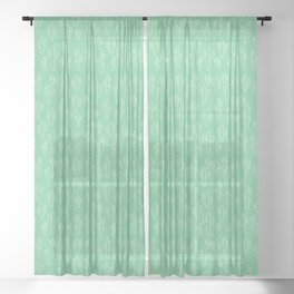 Mint Green Cactus Pattern Sheer Curtain