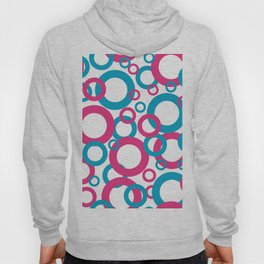 AI Aqua Coloro 2021 Color Of the Year and Hot Pink Funky Geometric Rings Hoody
