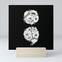 floral semicolon monochrome Mini Art Print