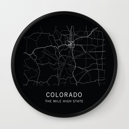 Colorado State Road Map Wall Clock