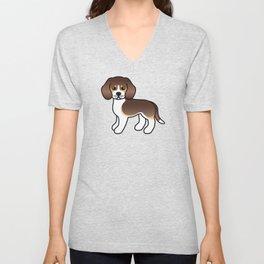 Cute Chocolate Tricolor Beagle Dog Cartoon Illustration Unisex V-Neck