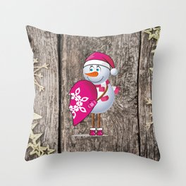 Snowgirl with heart Throw Pillow