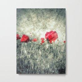 Poppies & Letters Metal Print