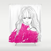 tiffany Shower Curtains featuring Tiffany Hwang by Noir0083