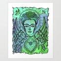 Frida Kahlo - monoprint-blue by lydiahess