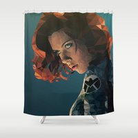 black widow Shower Curtains featuring Black Widow by Chelsea Lindsay