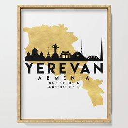 YEREVAN ARMENIA SILHOUETTE SKYLINE MAP ART Serving Tray