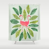 watercolor Shower Curtains featuring Flamingos by Cat Coquillette
