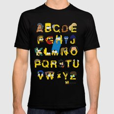 Simpsons Alphabet MEDIUM Mens Fitted Tee Black