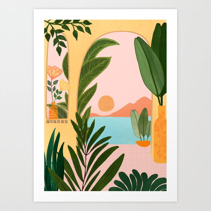 Moroccan Coast - Tropical Sunset Scene Art Print