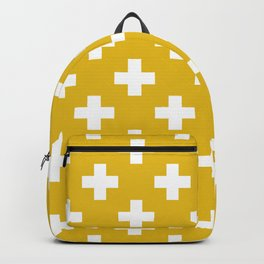 Mustard Yellow Plus Sign Pattern Backpack