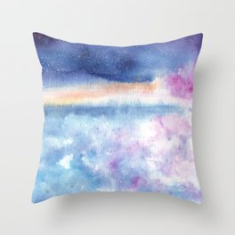 Blue Sky Illustration Throw Pillow