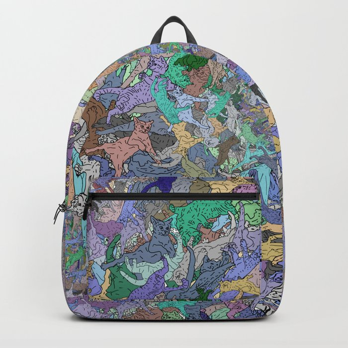 Neon Cats Blue Moon Sea Twilight Backpack