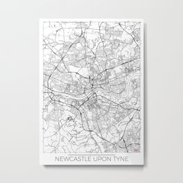Newcastle Upon Tyne Map White Metal Print