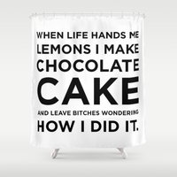 cake Shower Curtains featuring Cake by I Love Decor