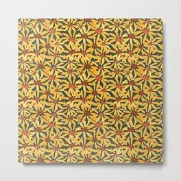 Autumnal Daisies in mustard and tangerine Metal Print