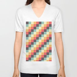 When dad was young - Pixel pattern in muted pastel colors Unisex V-Neck