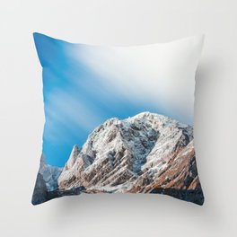 Misty clouds over the mountains Throw Pillow