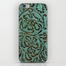 Aqua Flowers Tooled Leather iPhone Skin