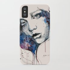 Window, watercolor & ink painting iPhone X Slim Case