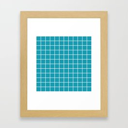 Grid Pattern Turquoise 2 Framed Art Print