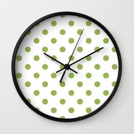 Green Polka Dots Wall Clock