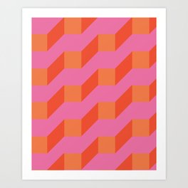 Retro geometry bright pattern no10 Art Print
