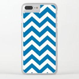 Sapphire blue - blue color -  Zigzag Chevron Pattern Clear iPhone Case