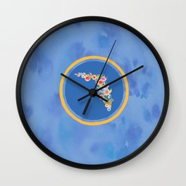 Florida Blue and Orange Watercolor Flower Wall Clock