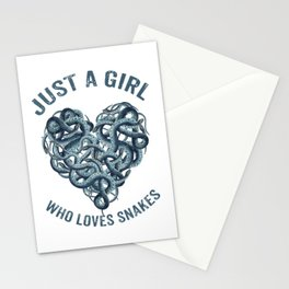 Just A Girl Who Loves Snakes Heart Stationery Cards