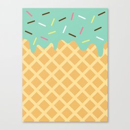 Mint Ice Cream with Sprinkles Canvas Print